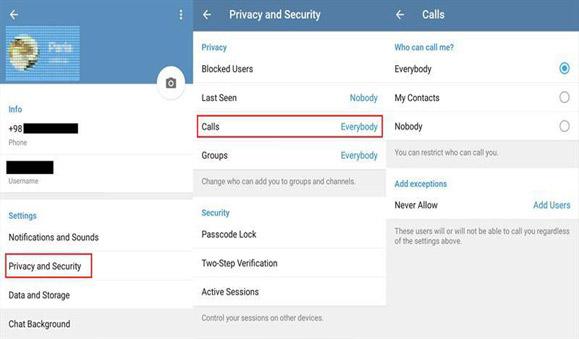 حفظ حریم شخصی تماس صوتی در تلگرام